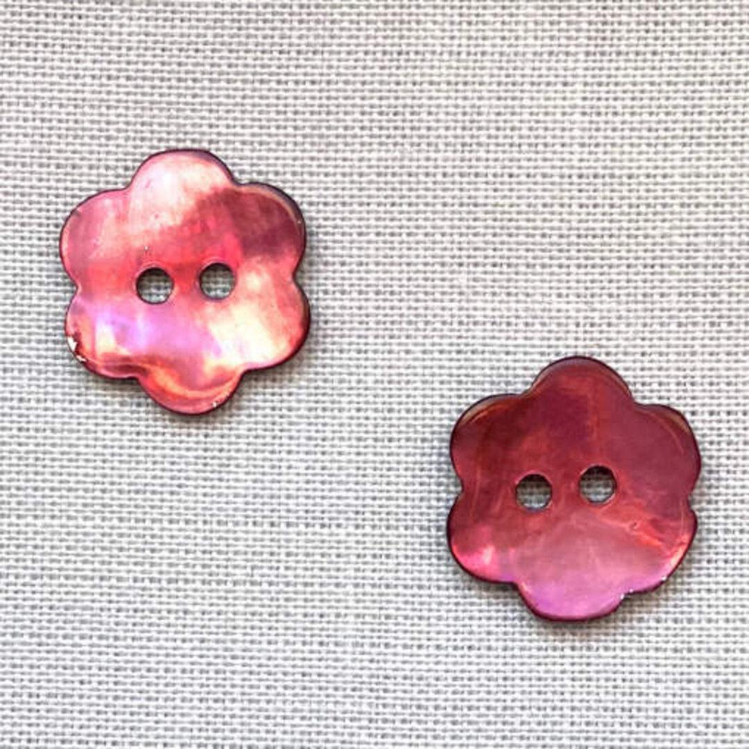 シェルボタン フラワー パープル 3個 ST b-2453 花 小花