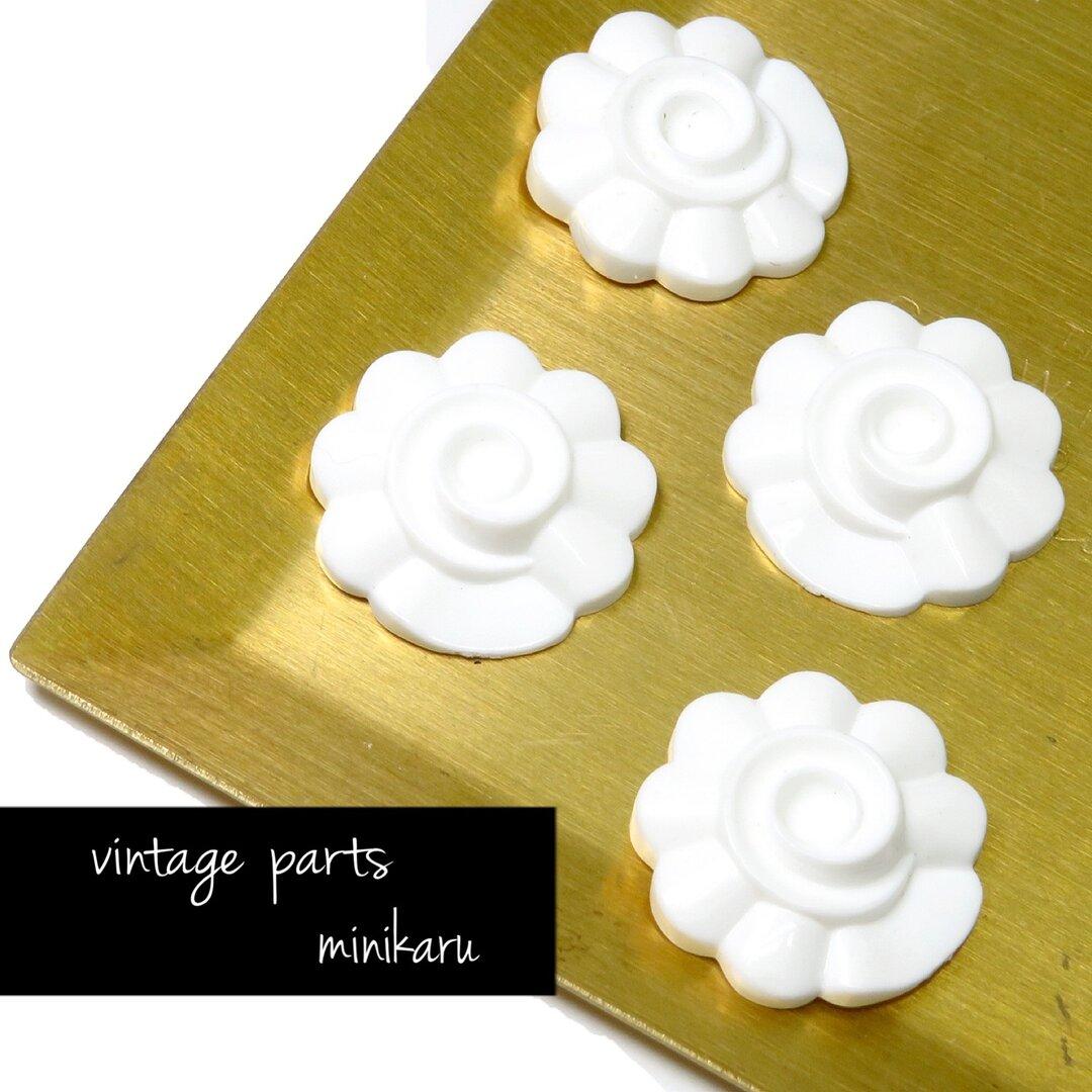 4個入)vintage parts flower cabochon