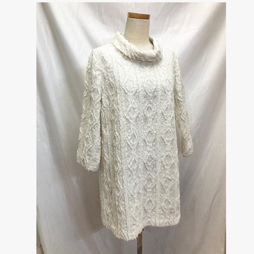 【Mサイズ】ケーブル編み風生地のロール衿チュニック