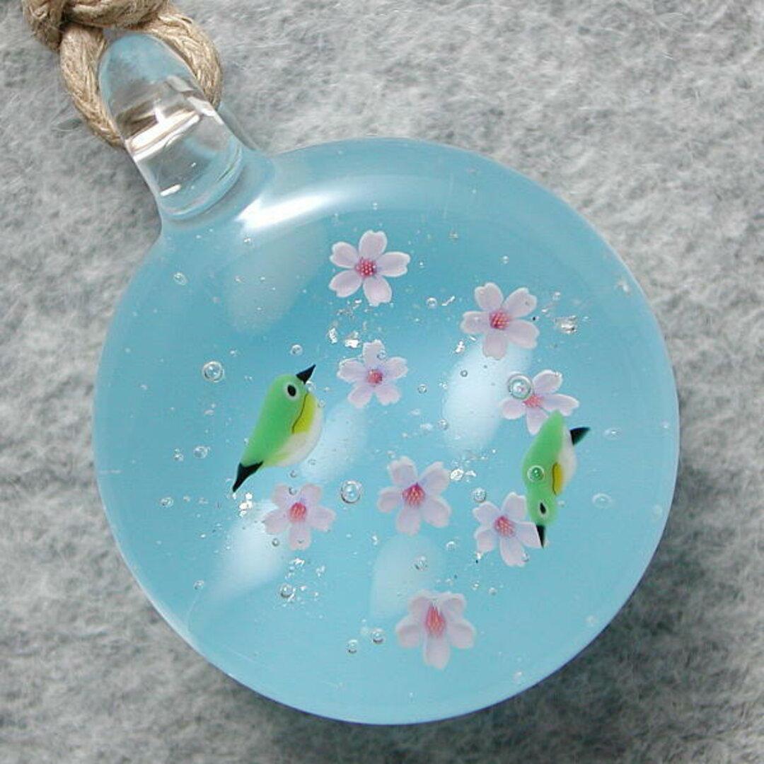 平玉・満開桜とメジロ(試作品) とんぼ玉 ガラス ネックレス No1905