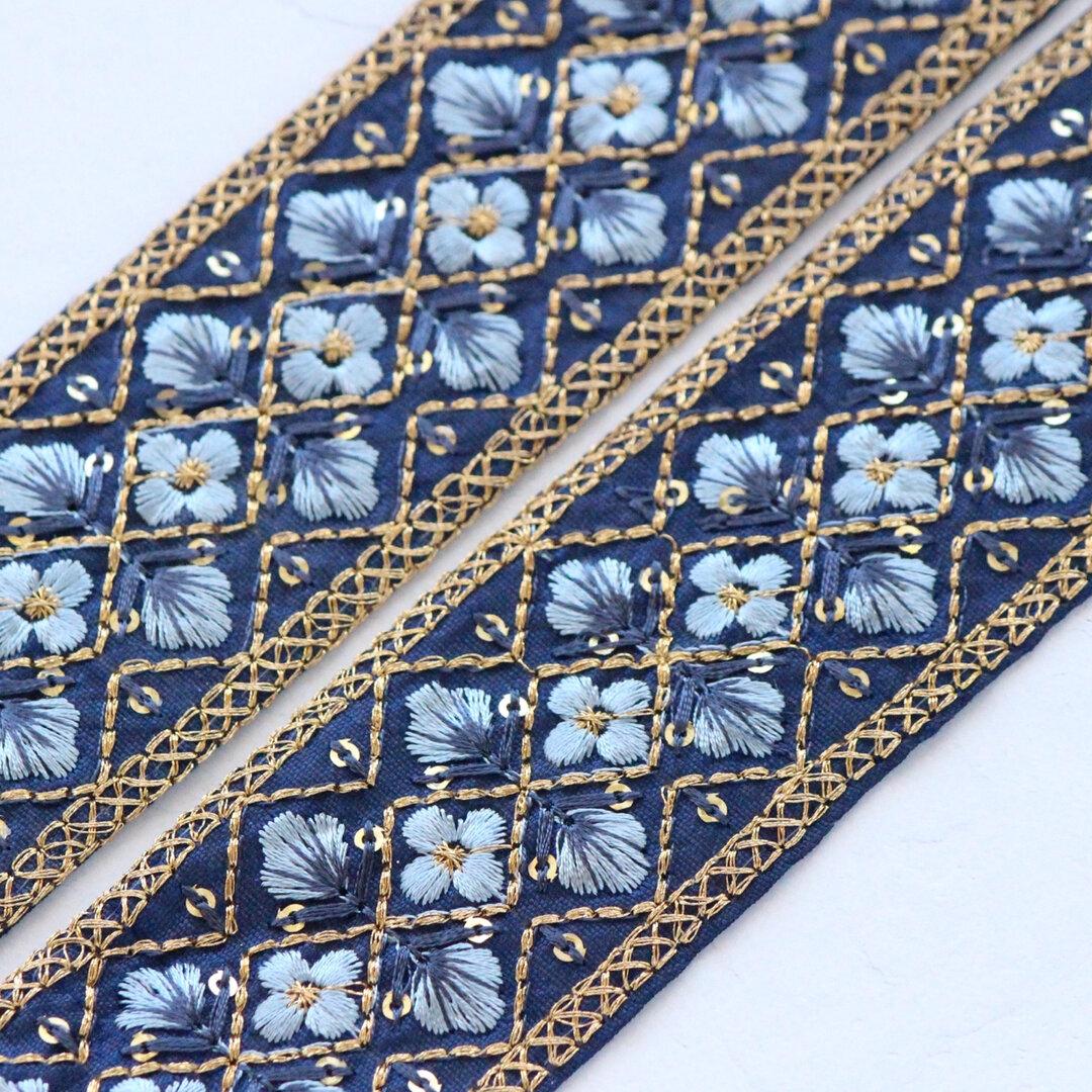 インド刺繍リボンᢂシルクリボン【ネイビー】刺繍リボン 刺繍リボン トリム ブレード ジャガードリボン チロリアンテープ レース チュールレース