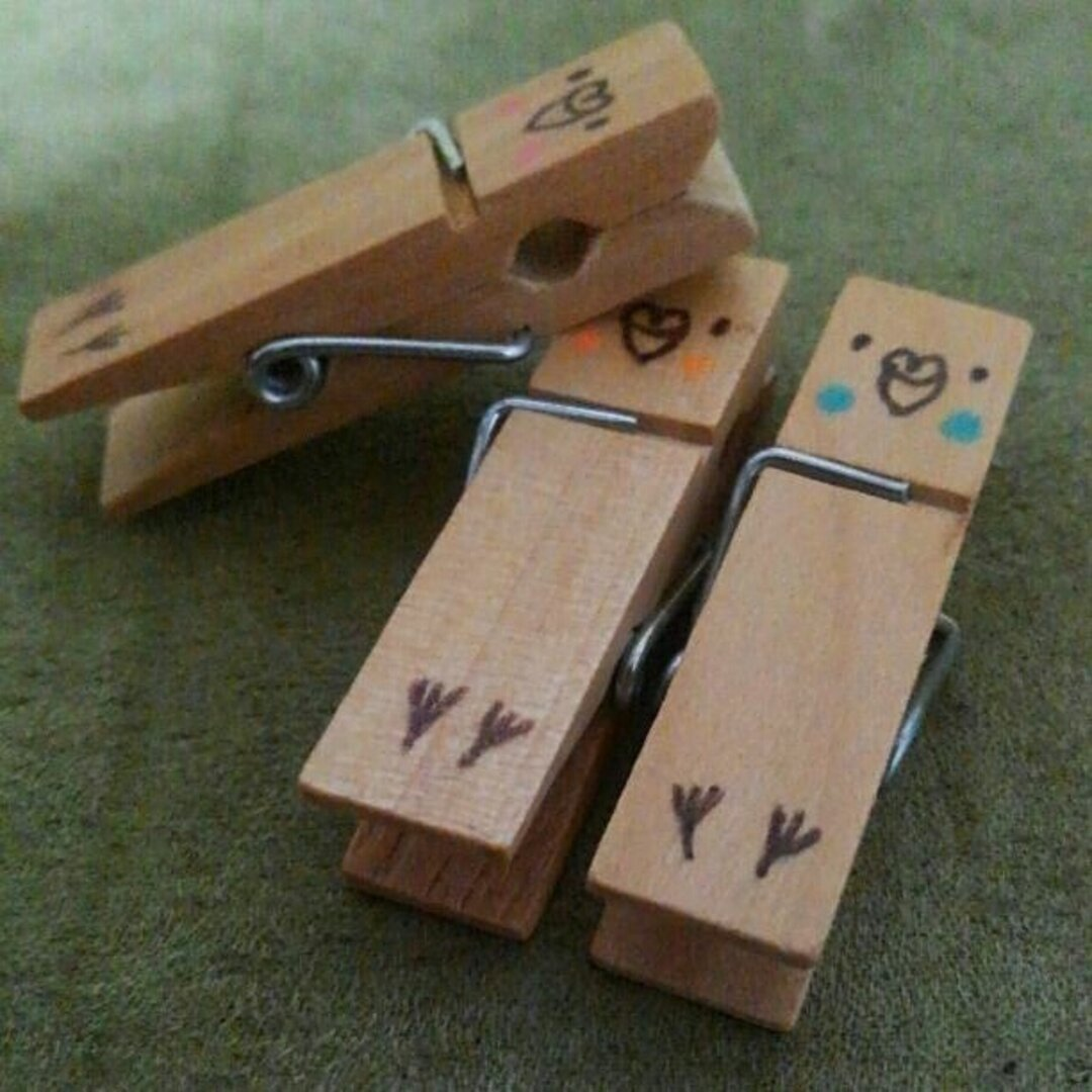 送料込♪お腹見せインコ木製ピンチ3個セット