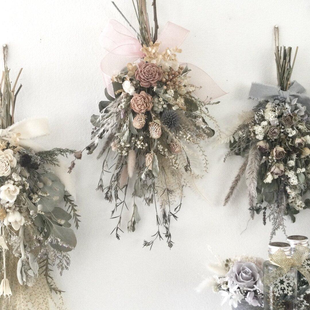 ソラローズと小花のスワッグ ナチュラルアンティーク  ドライフラワー 誕生日プレゼント  引っ越し祝い 秋 ギフト