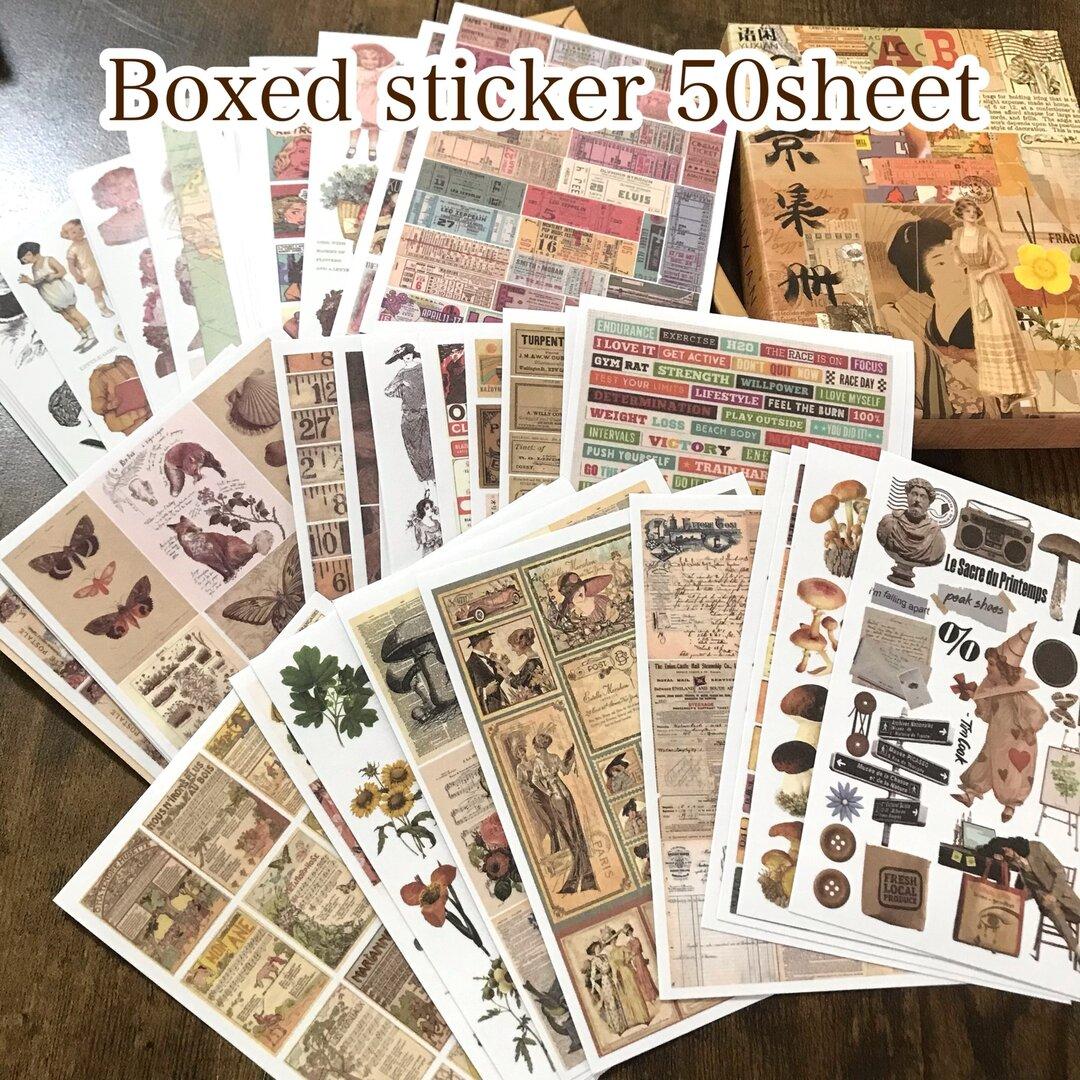BOX入りシートステッカー50枚☆レトロ&アンティーク