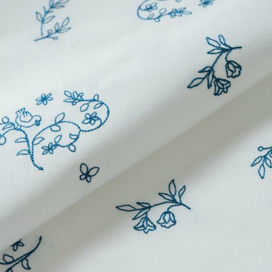 刺繍生地 【森の小鳥/オフホワイト】 カットクロス 綿ポリ