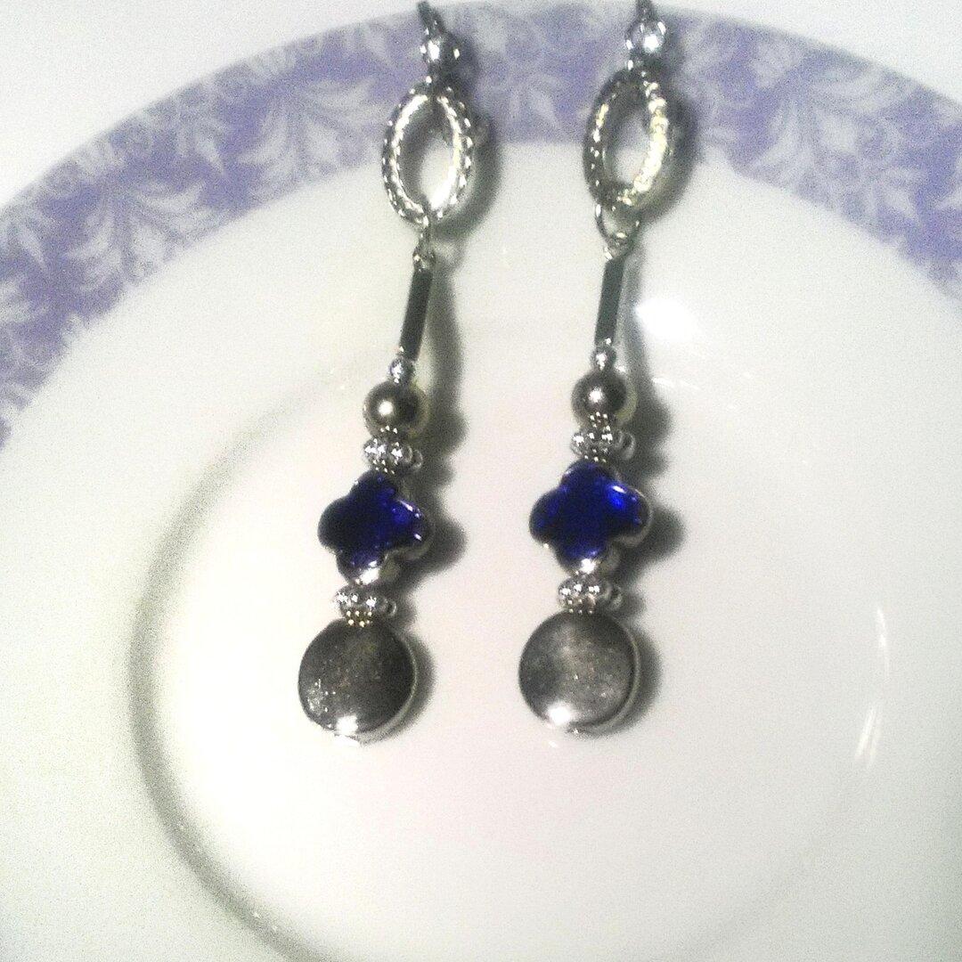 軽~い violet-blue&silver ロングイヤリング