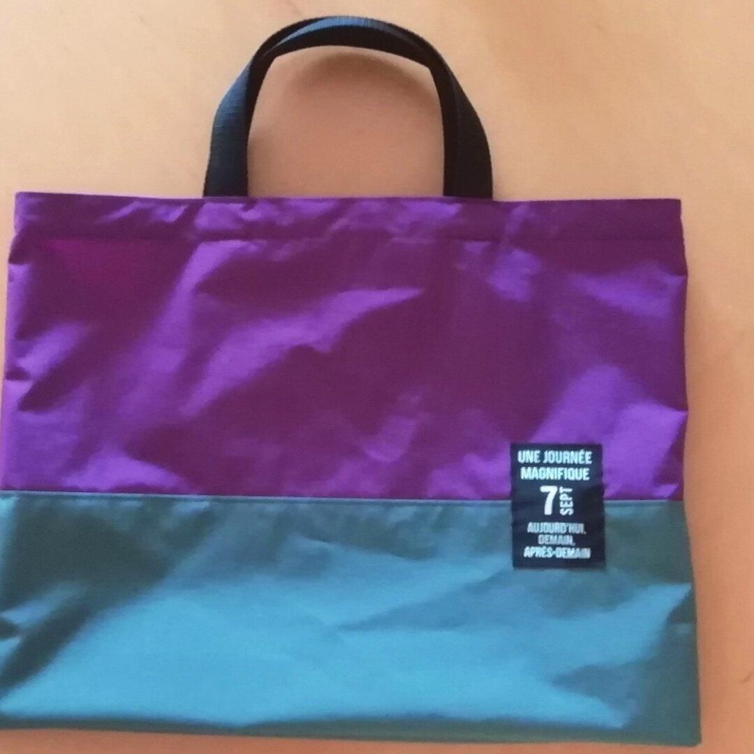受注製作☆防水布のバッグ パープル×グレー☆プールバッグに・雨の日のおけいこに