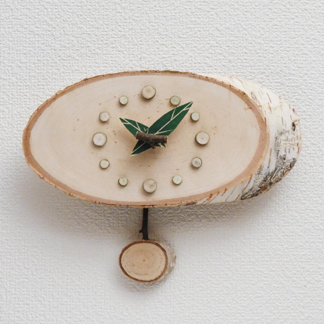 白樺の振り子掛時計
