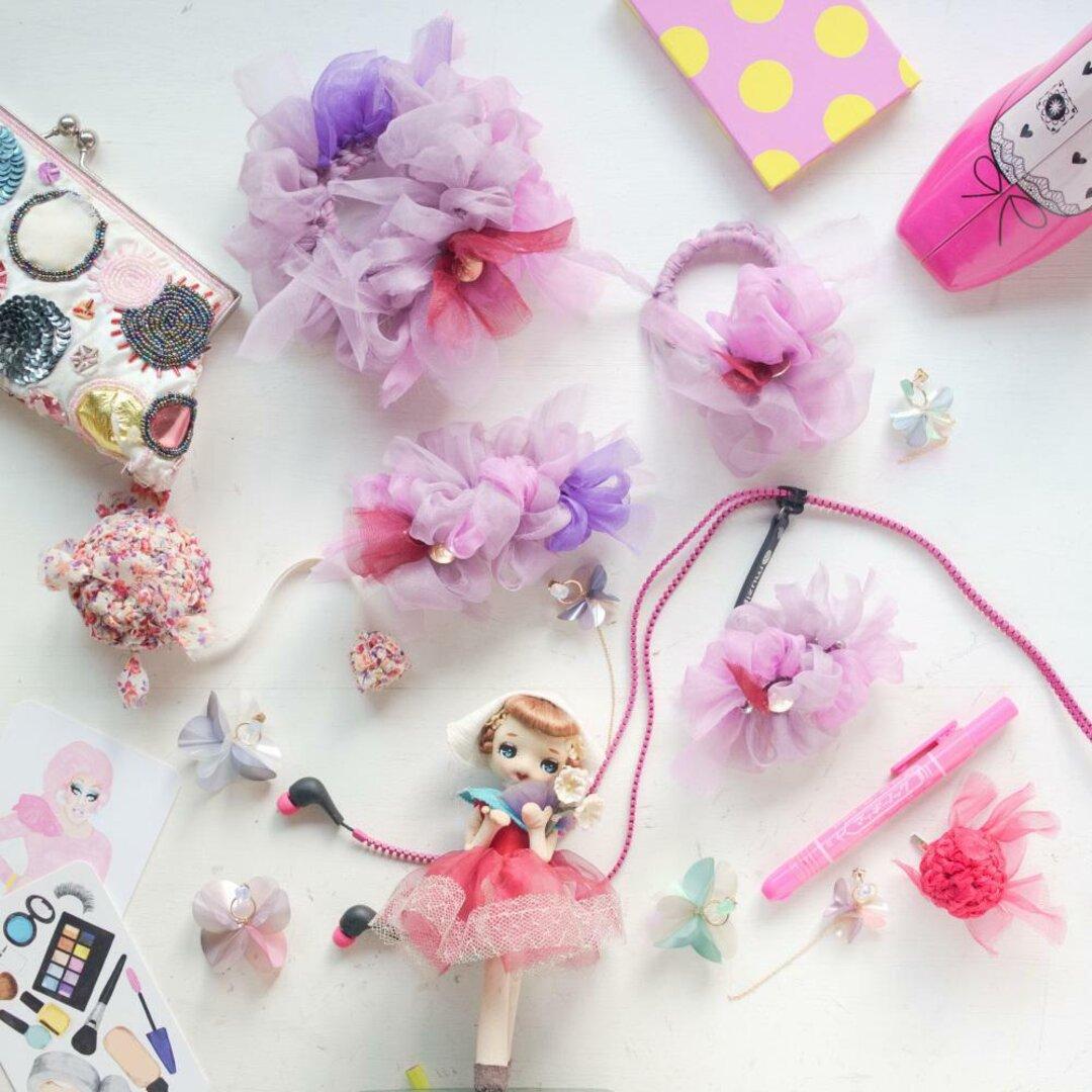 【秋冬限定】mini|ぶどう|彩る咲き編みシュシュ