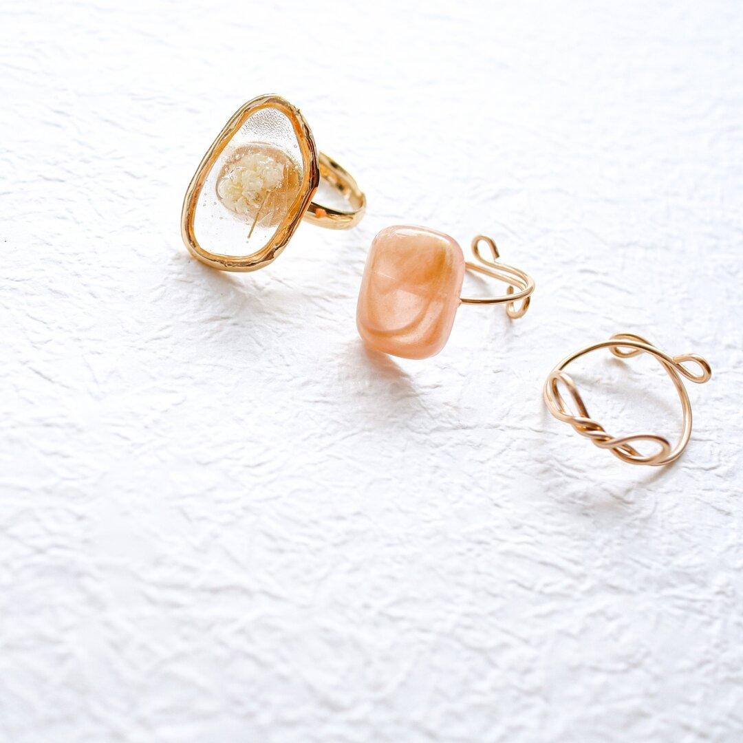 ドライフラワー かすみ草 ピンクゴールド リボン ワイヤーリング リング  指輪 サイズ調整可能 ゴールド