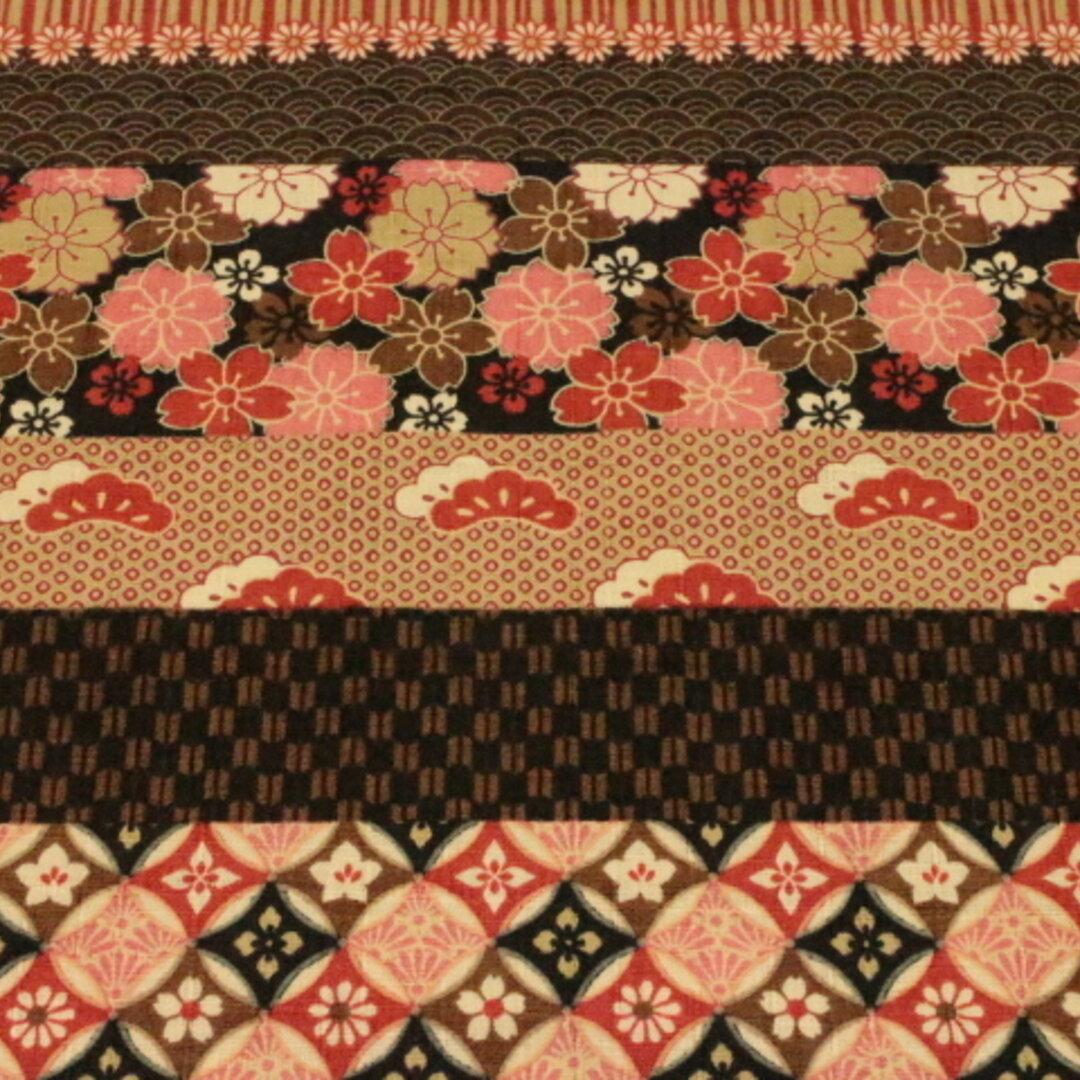 和柄 ボーダー柄  さくら、菊柄 黒、こげ茶、エンジ系色 56070-2D 110㎝幅×50㎝ ドビー布