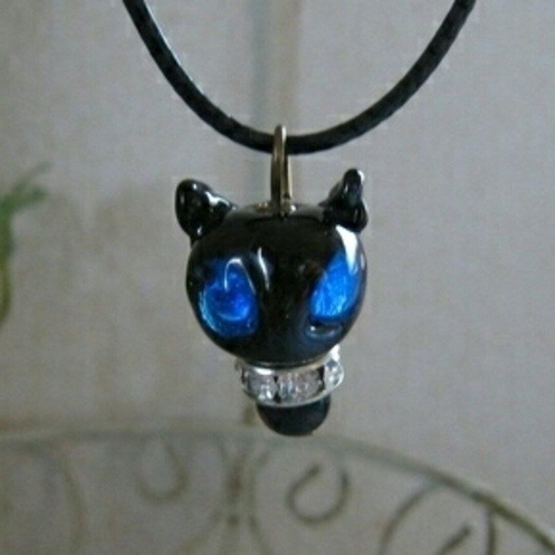 とんぼ玉ネックレス  ブルーeyeの猫 ちびねこ 3