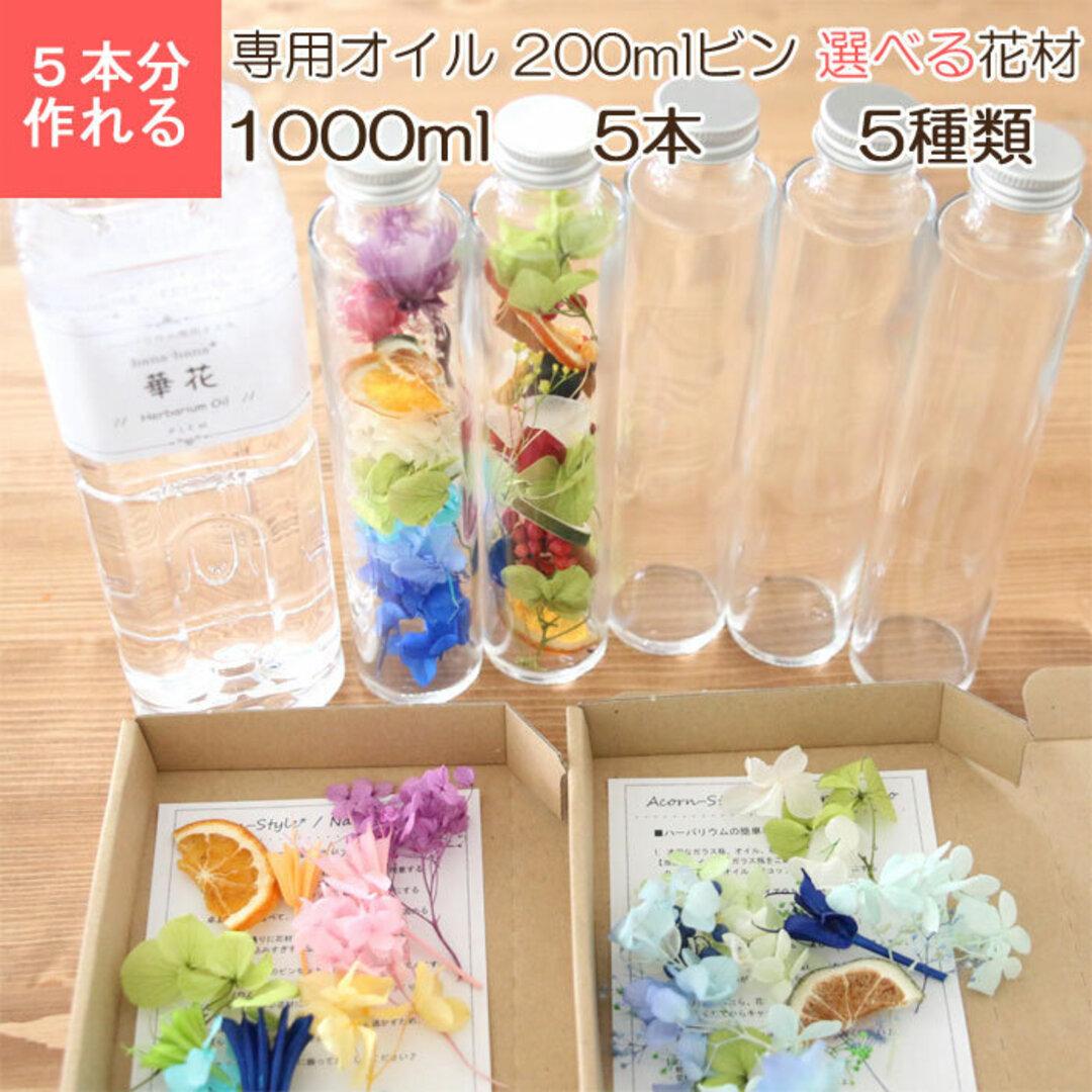 【5本分】【サマーカクテル】 ハーバリウムキット (オイル1本、ガラス瓶5本、花材セット5種類)