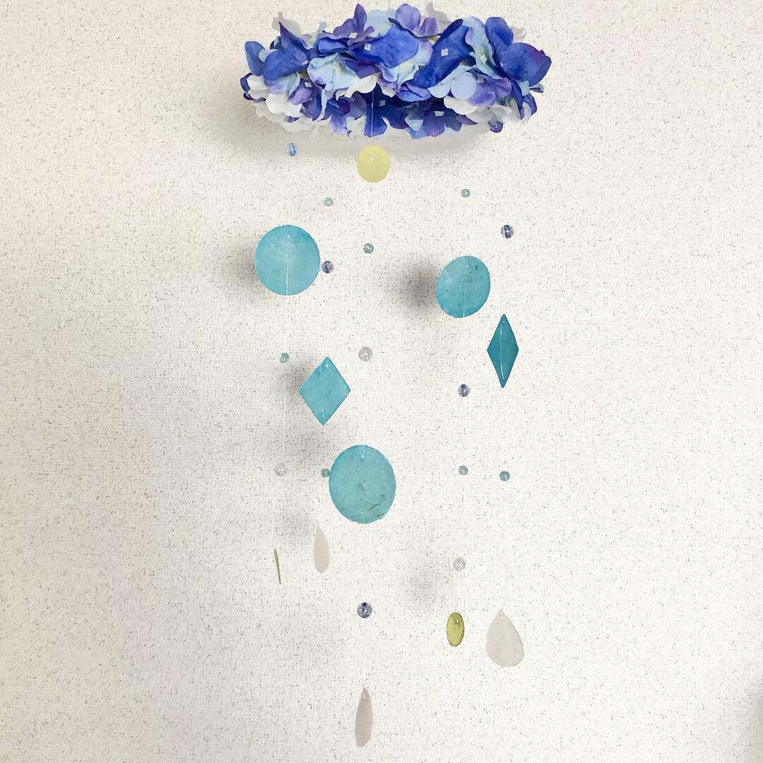 紫陽花の花かんむり【ブリーズキャッチャー】梅雨色の吊り下げインテリア雑貨