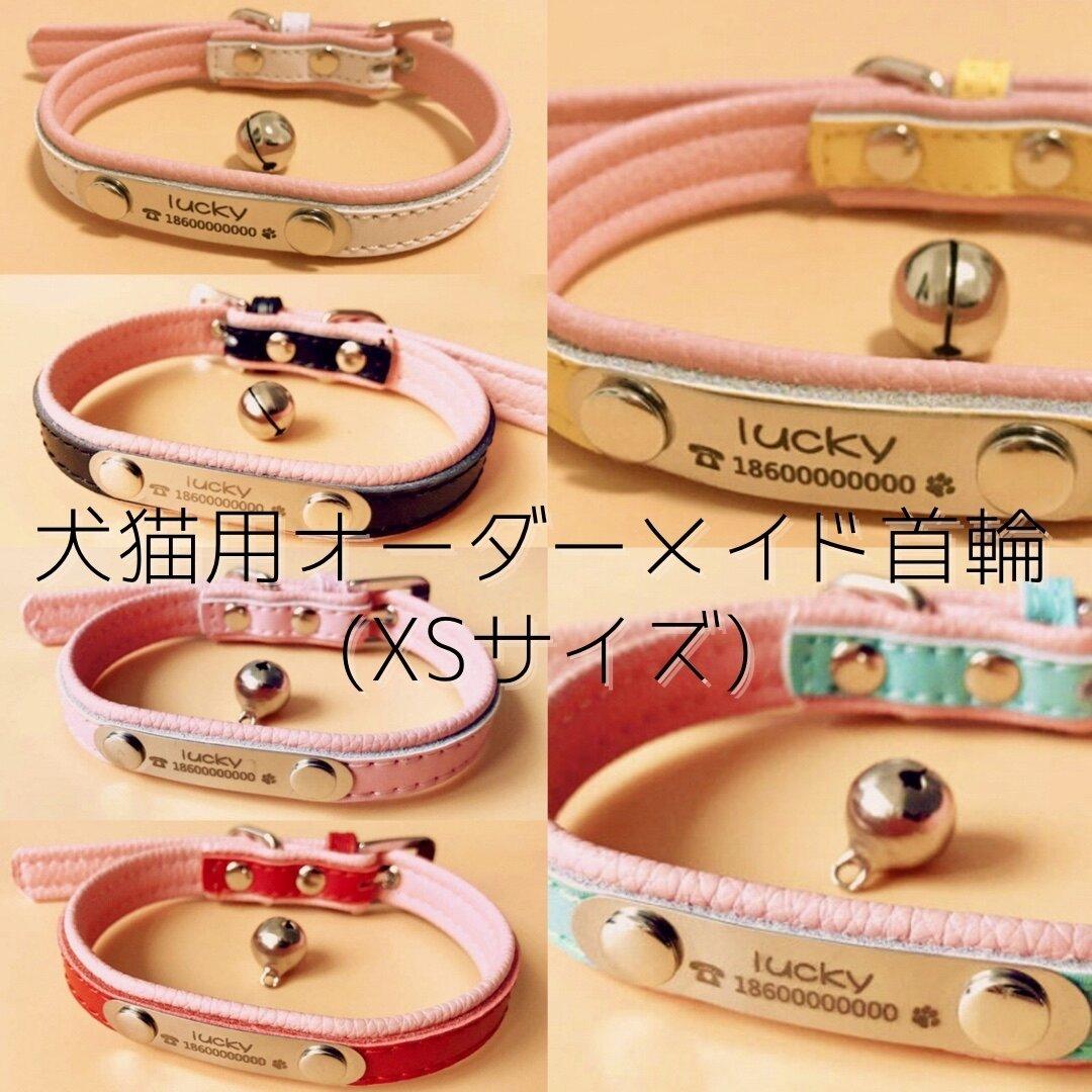 【オリジナル首輪】犬猫用✨オリジナル名前入り✨デザインのカワイイ革製首輪✨XSサイズ🐶😸