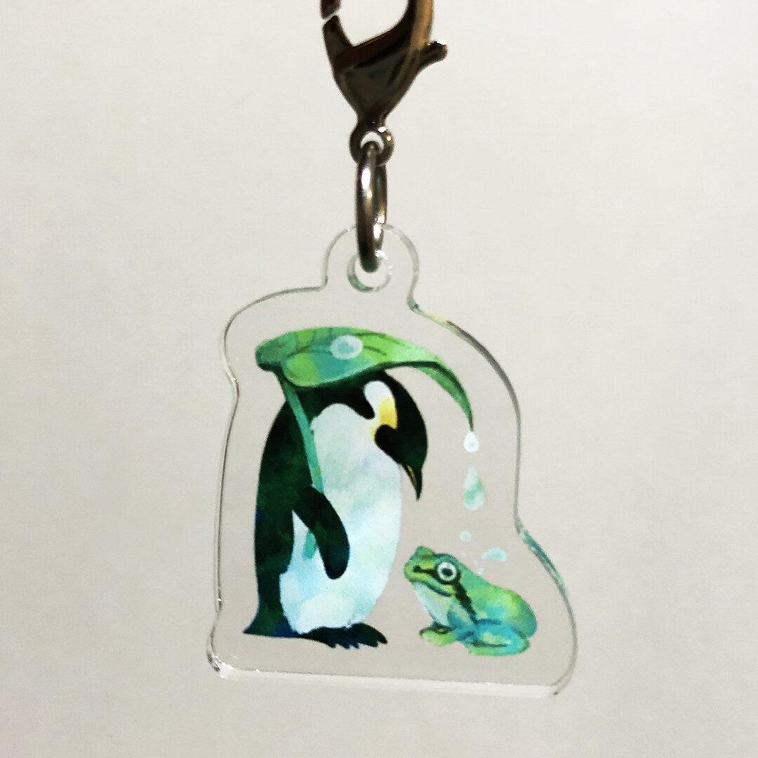 【アンブレラマーカー】雨の日ペンギン -カエル-