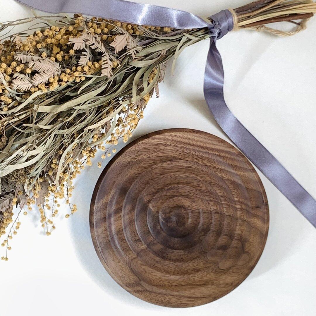 ◎水紋模様の木のお皿◎ 15㎝〜16㎝ アクセサリートレイ ウォールナット