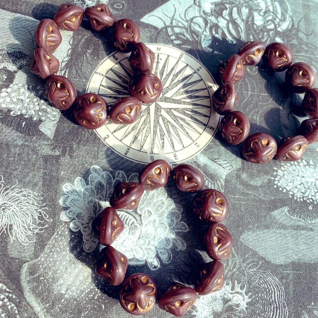 SALE【1連10コセット】JIRI*IVANA#czech beads#チェコビーズ antique flower14✖️11㎜ chocolat brown marone🌰🍫/copper