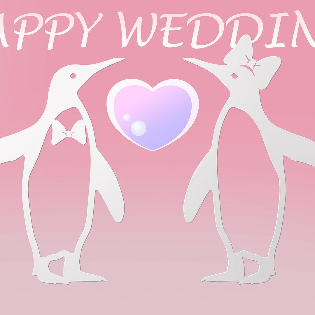 ☆Cubee☆ペンギン☆結婚式:ウエディング・ウェルカムボード☆アクリル・スワロフスキークリスタル☆