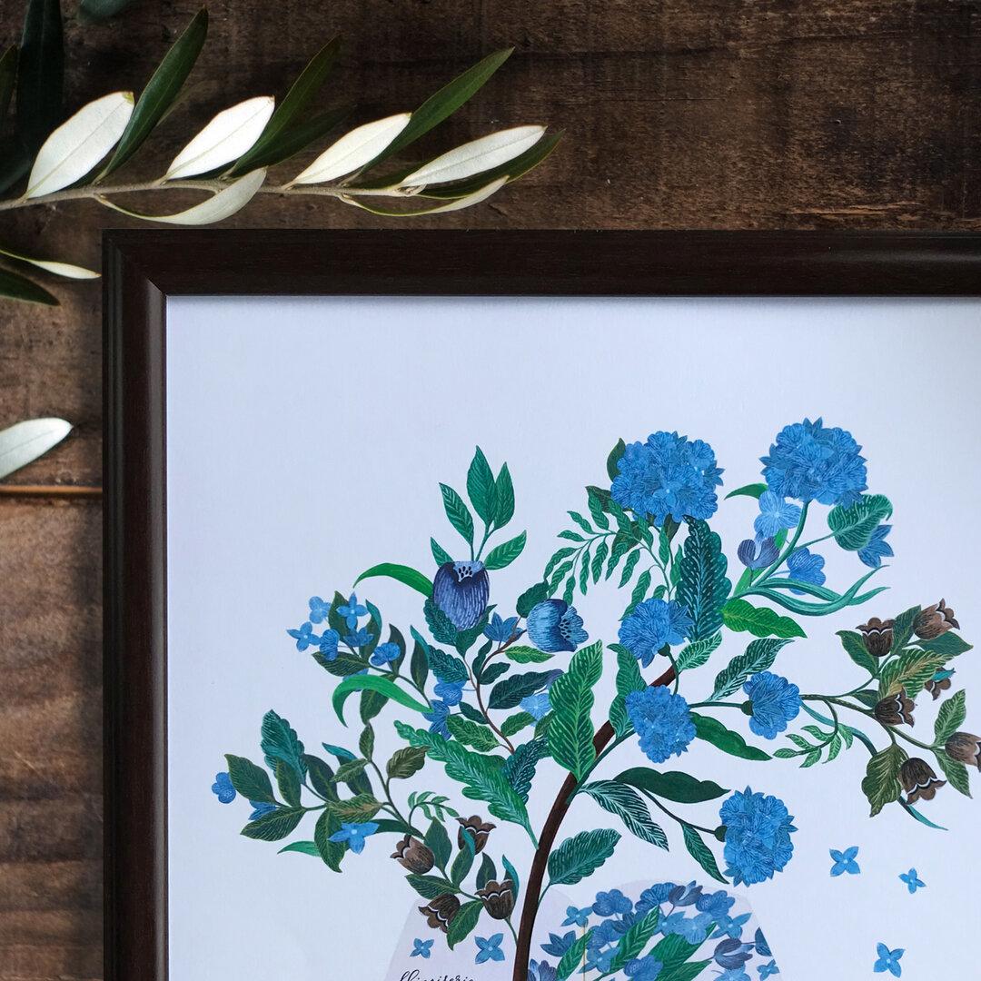 『青い木と鳥のお話』 インテリアポスター