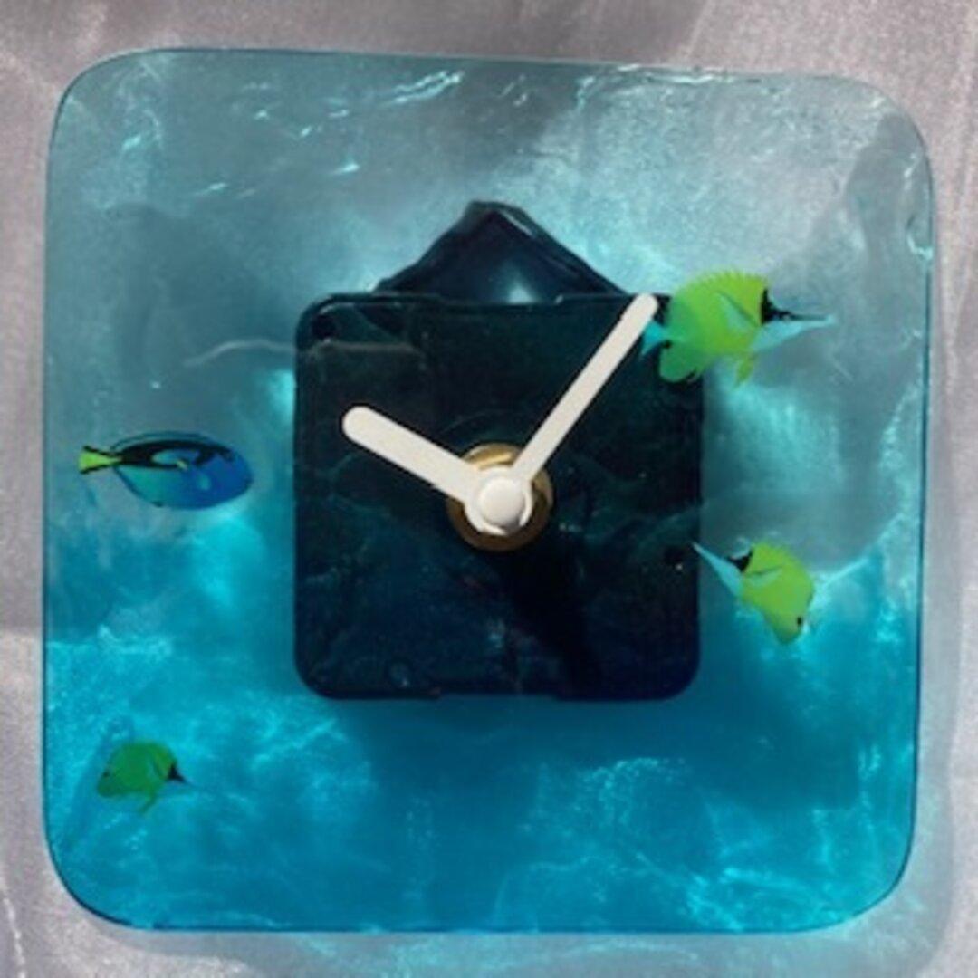 レジン クロック ウッド おしゃれ かっこいい 壁掛け時計(No28)