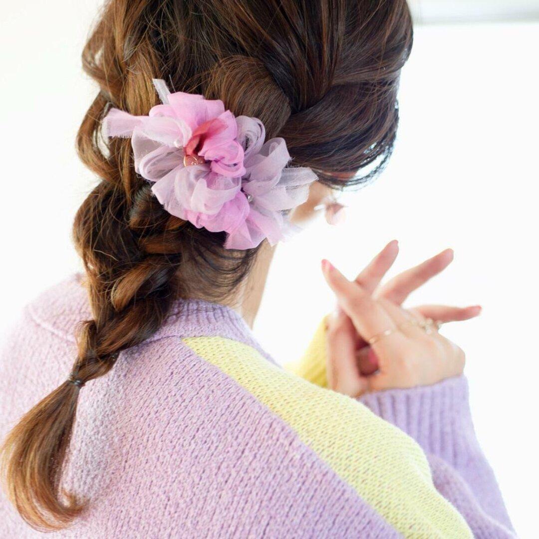 【秋冬限定】mini|ぶどう|彩る咲き編みバレッタ/ヘアクリップ
