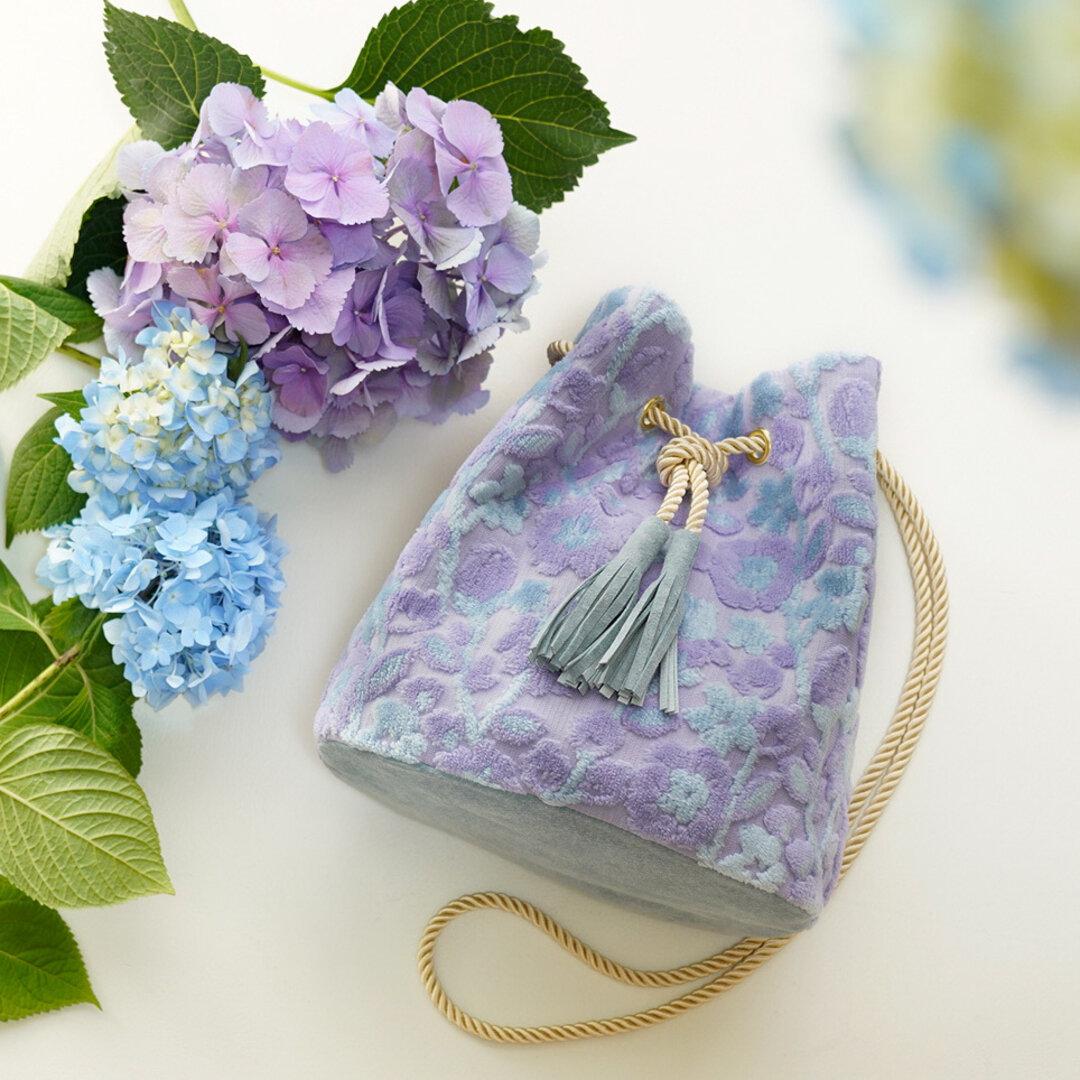 金華山巾着 <紫陽花色の花蕾> 2Way  ショルダー バッグ パイルジャカード織り