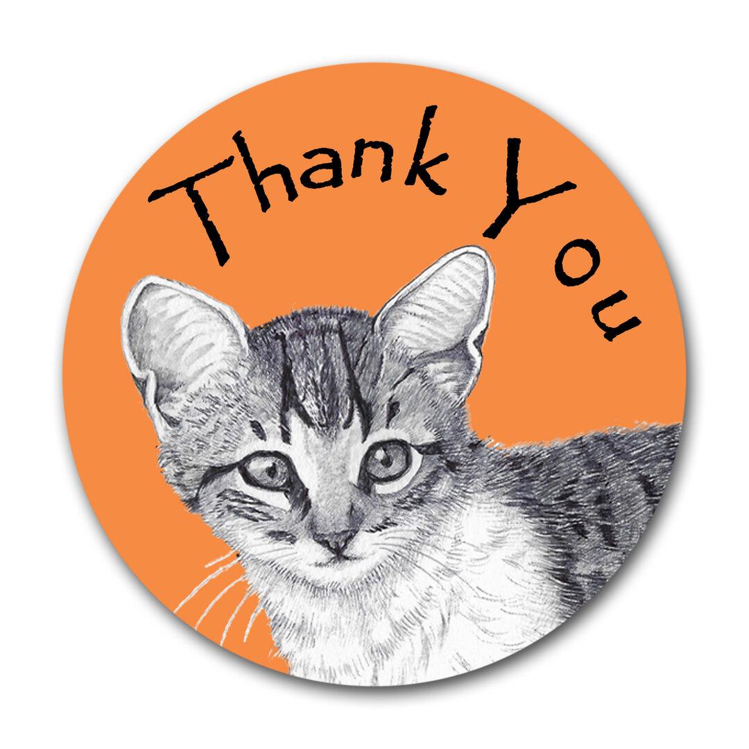 【猫のサンキュー メッセージカード タグ 丸いカード】トラ子猫アップデザイン-オレンジ