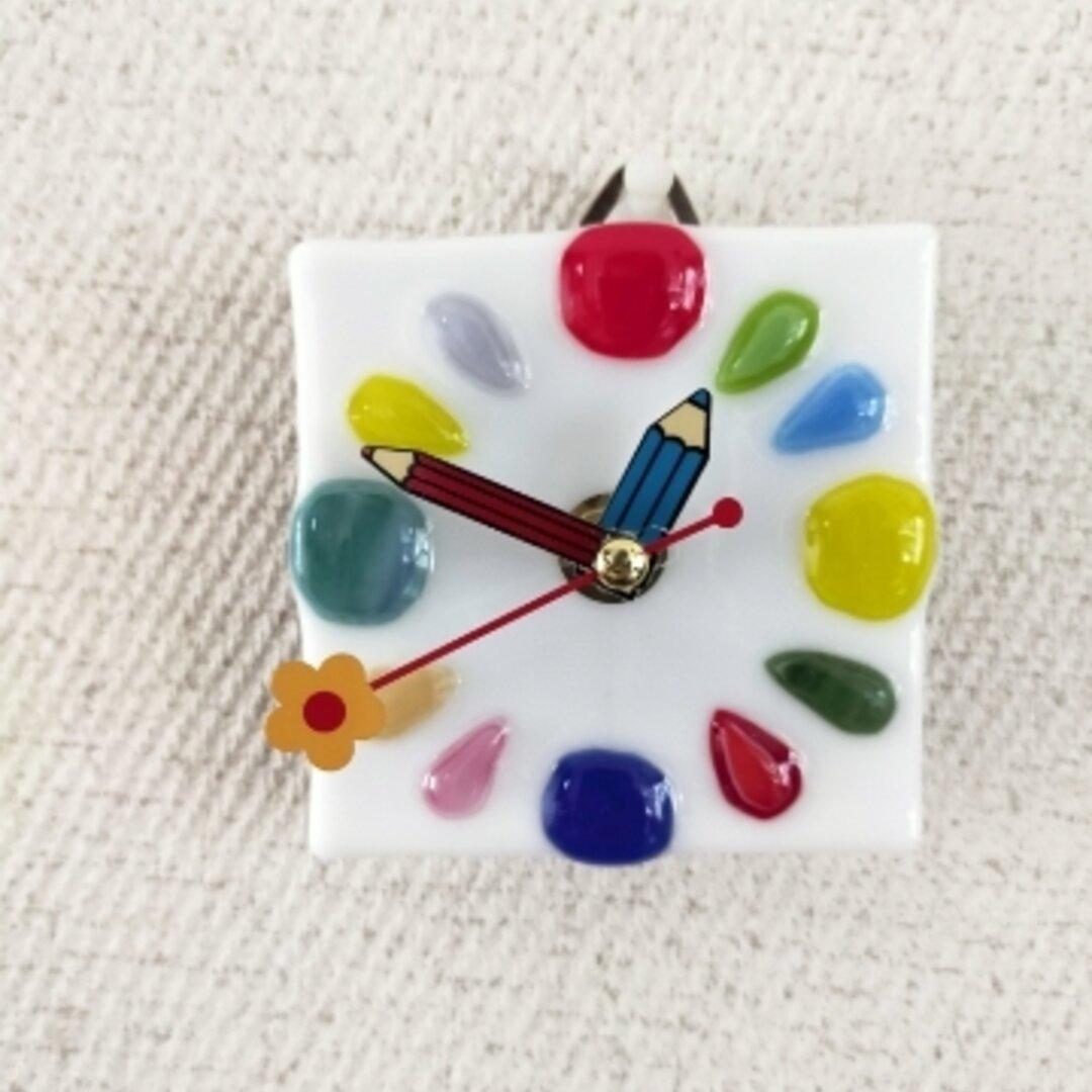 時計 掛け時計 ステンドグラス 鉛筆 えんぴつ