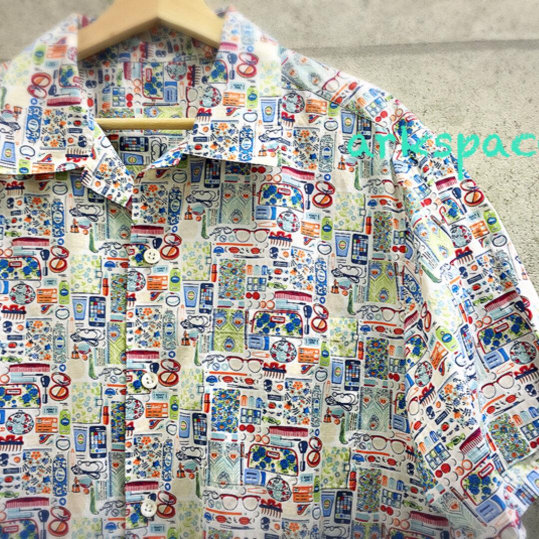 【受注製作】リバティプリント使用 涼しいメンズアロハシャツ