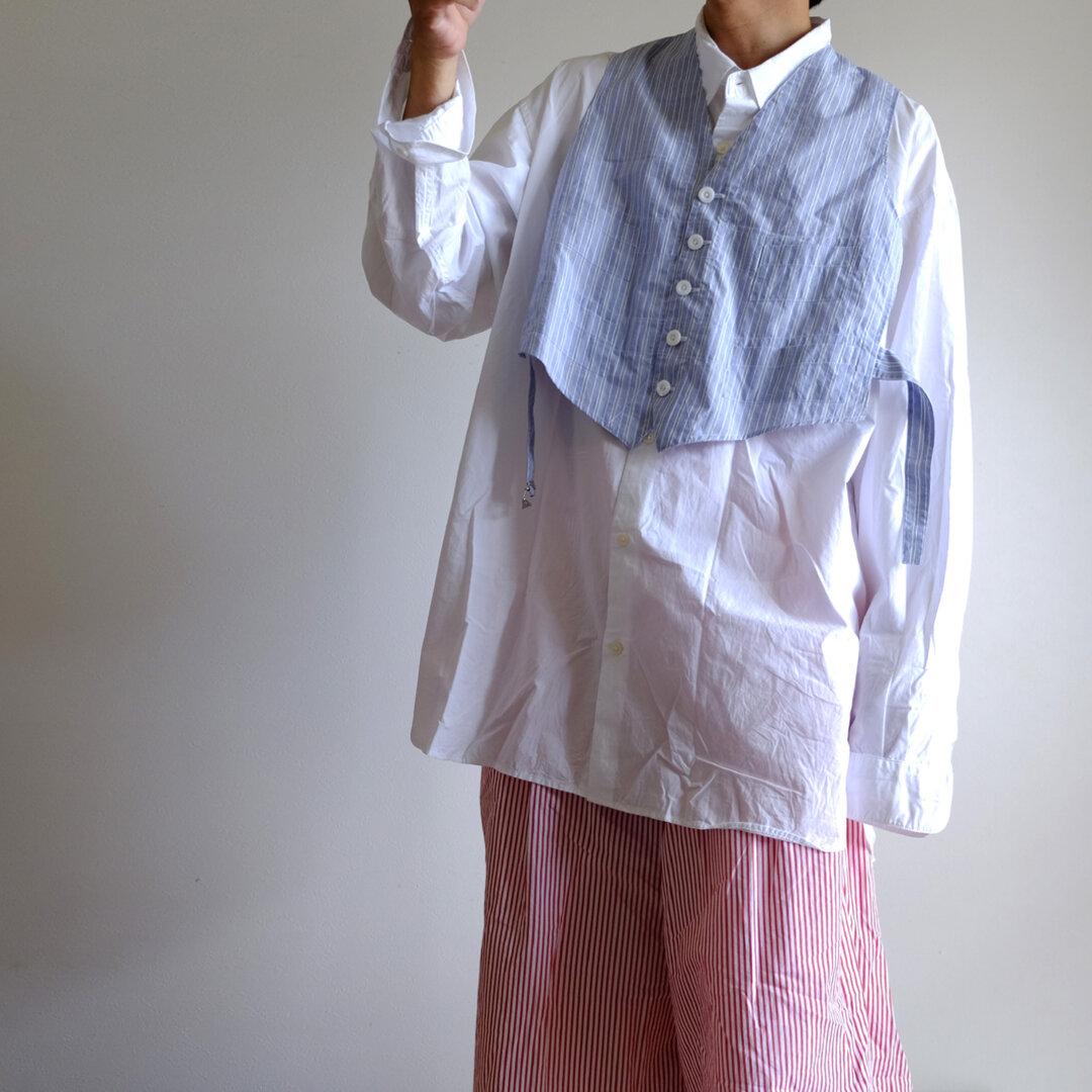 新作・サイドスリットウェストコート / ベスト ジレ レイヤード / コットンタイプライター クラシックストライプ【 サックスとホワイト 】/ side slit waistcoat / cotton