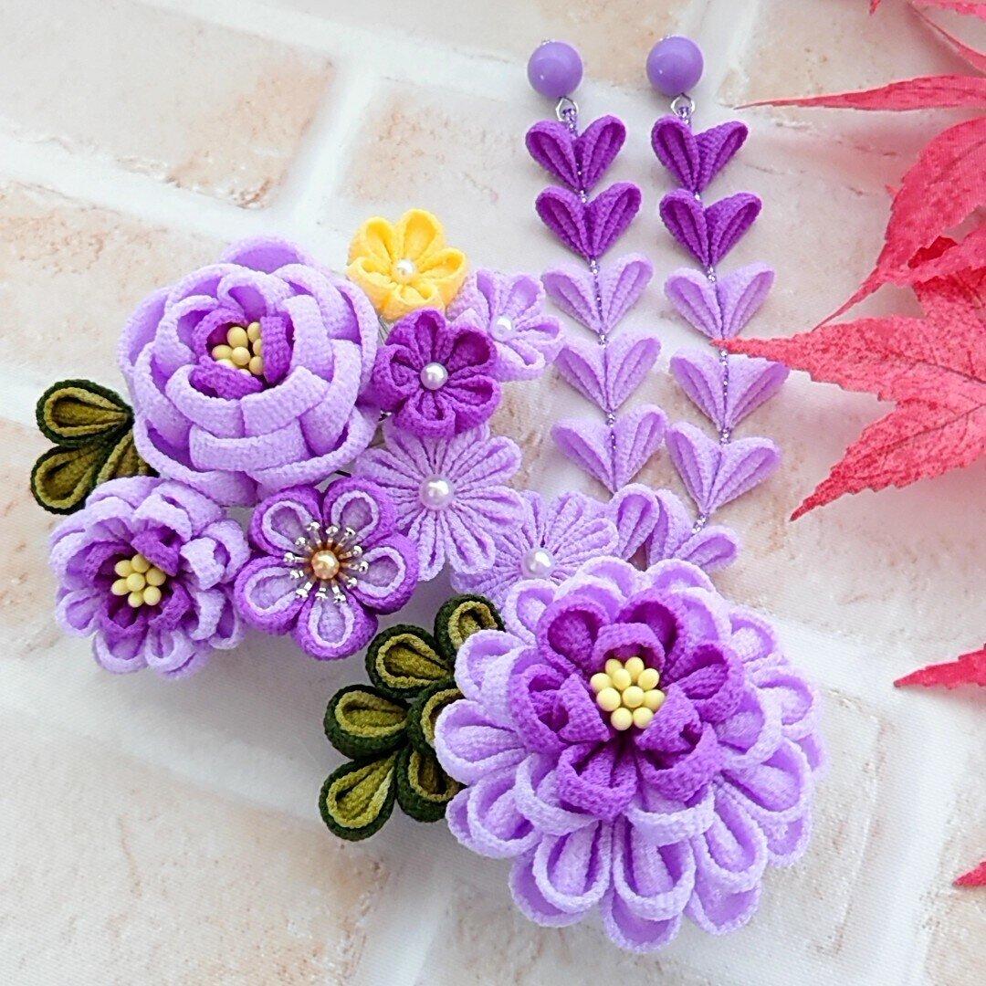 《つまみ細工≫*薄紫*髪飾り 結婚式・成人式・七五三