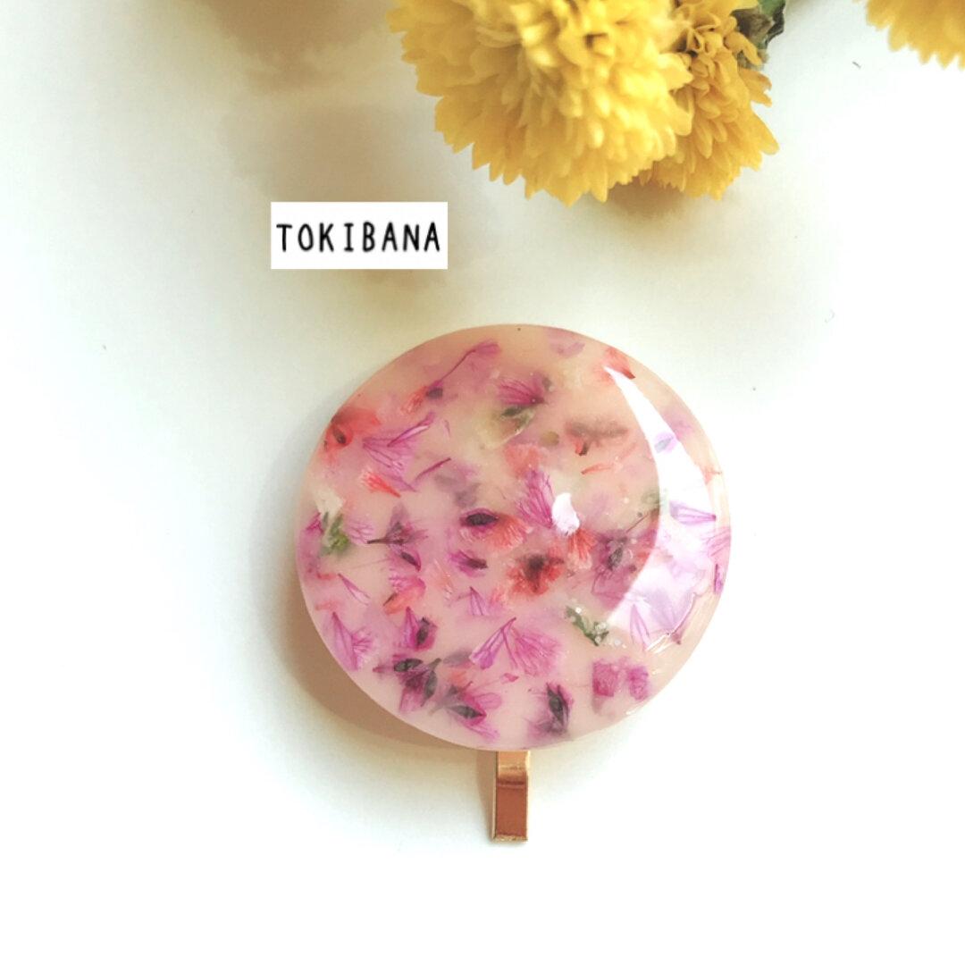 ピンク系 かすみ草の花びらポニーフック