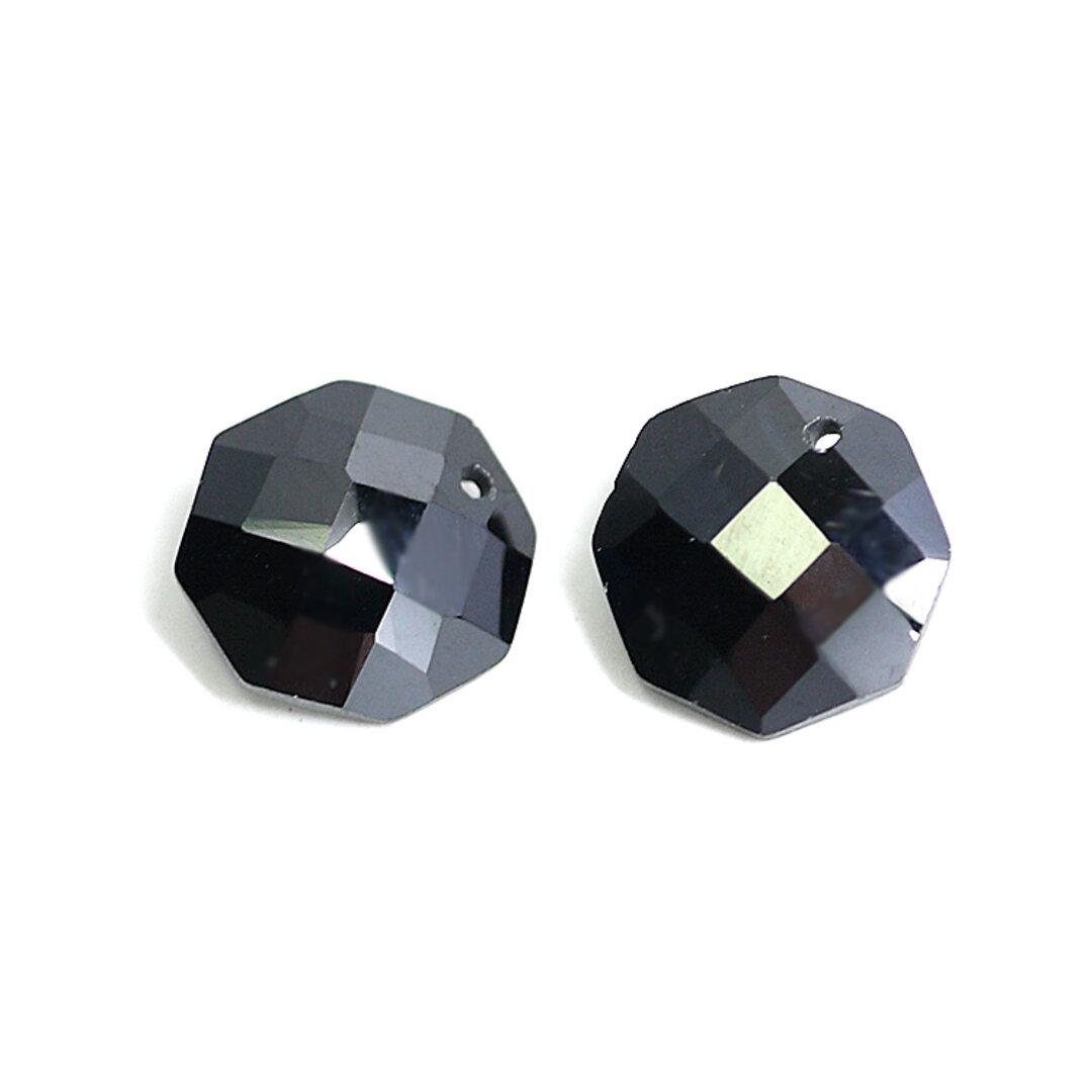 MInne限定SALE【2個入り】約10mmブラックカラーキュービック八角形ビーズ