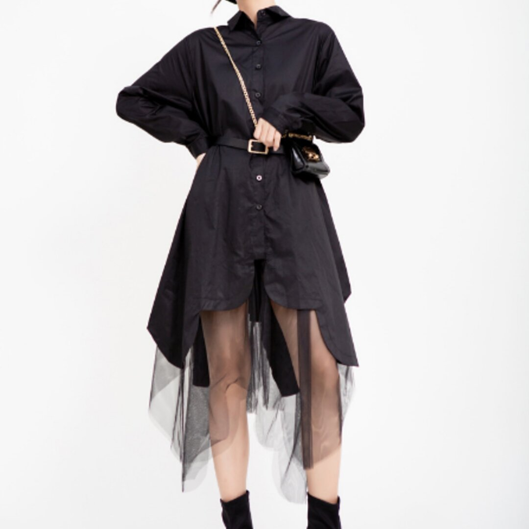 人気の新しい春と秋のドレス女性の大きな裾のスプライシングメッシュ不規則なシャツドレス