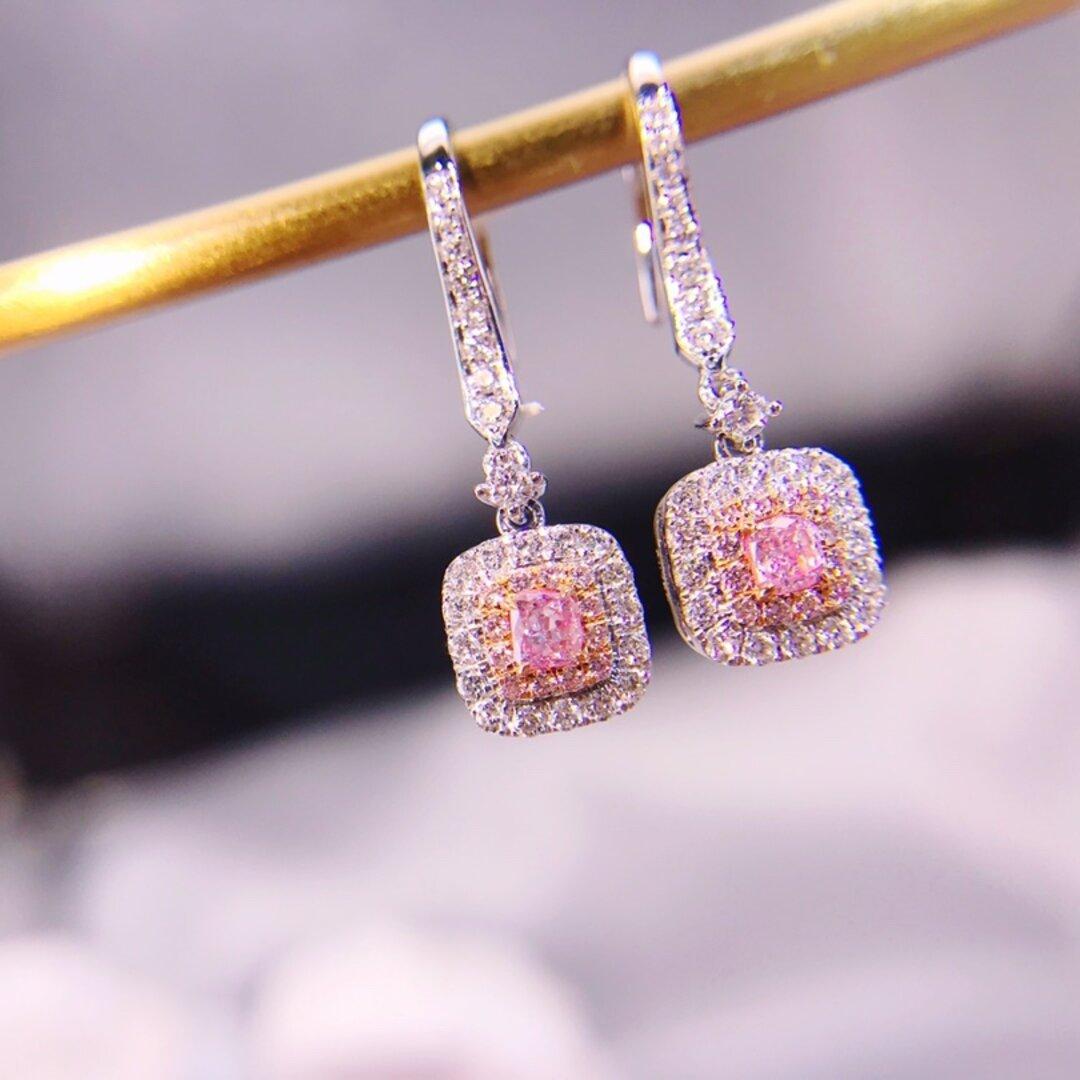 天然ピンクダイヤモンドピアス0.6ct k18