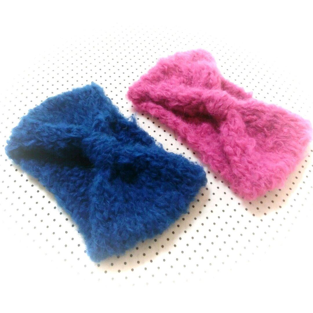 【受注制作】リボンデザインのアルパカ手編みヘアバンド♡選べる2色♡大人サイズ♡幅太め