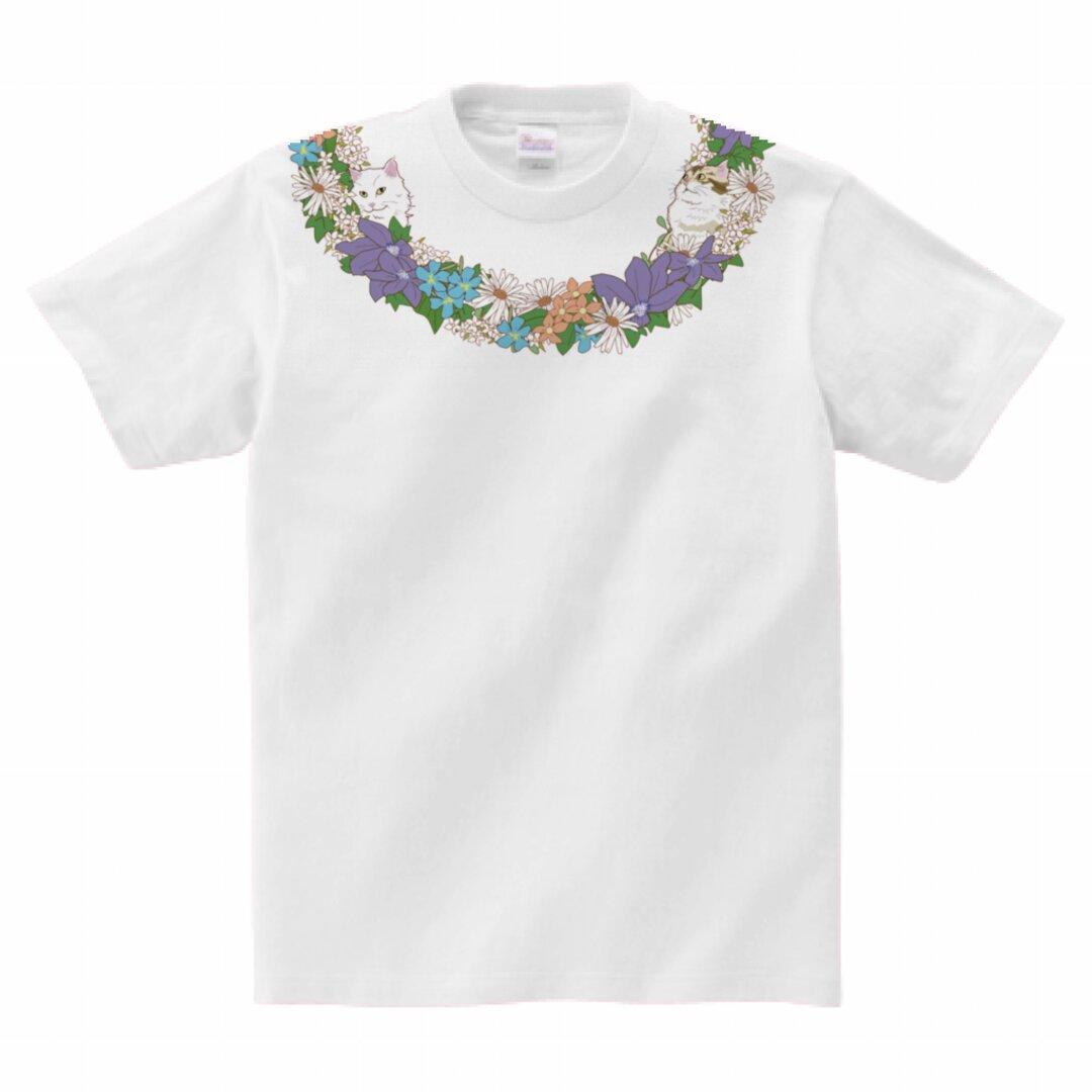 猫Tシャツ<ネックレスシリーズ>「お花と猫」