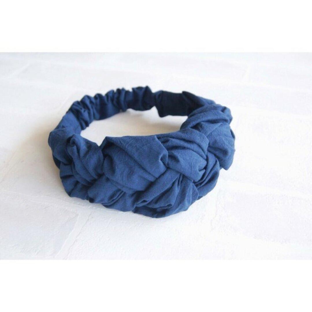 三つ編みヘアバンド ネイビー
