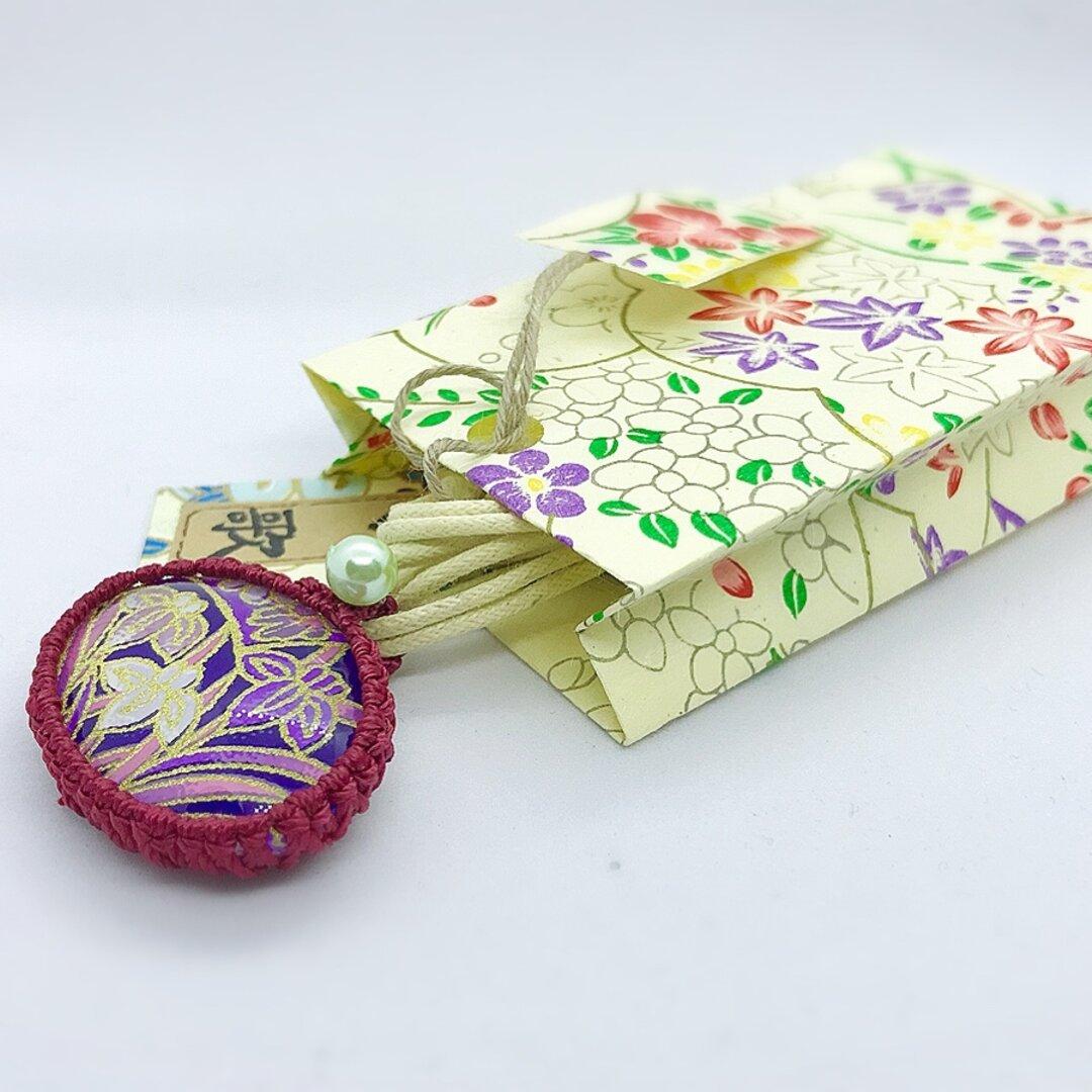 和紙のガラスペンダント(手提げ型ポチ袋付き)B