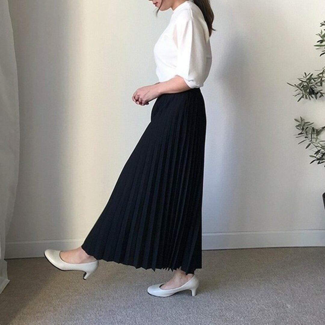送料0 シワにならないペアスキン生地のプリーツスカート 高見えスカート【長さ選べるペアプリ−ツブラック】