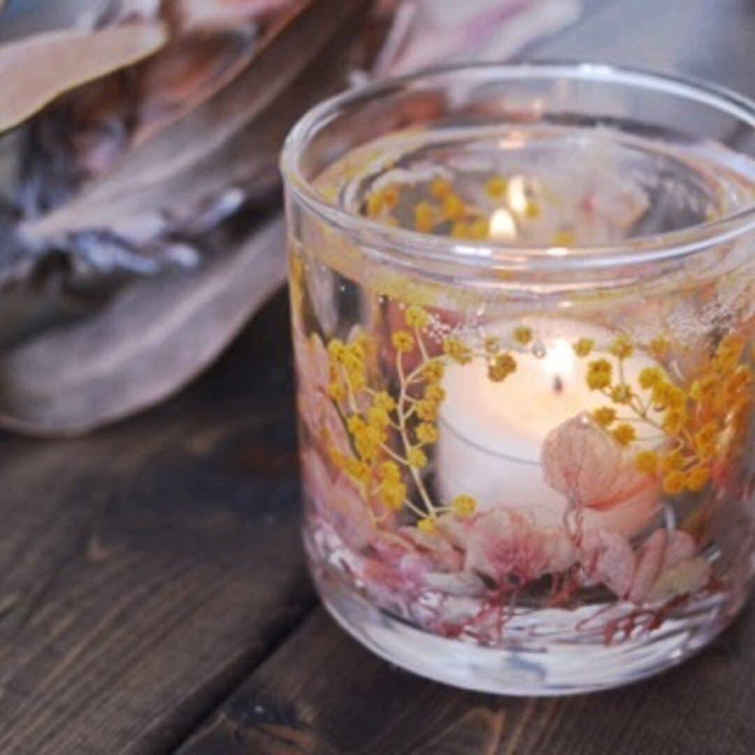 Happy Flower glass candle mimosaⅱ(キャンドルホルダー/ハンドメイドキャンドル/ソイキャンドル/紫陽花//黄色/ミモザ)