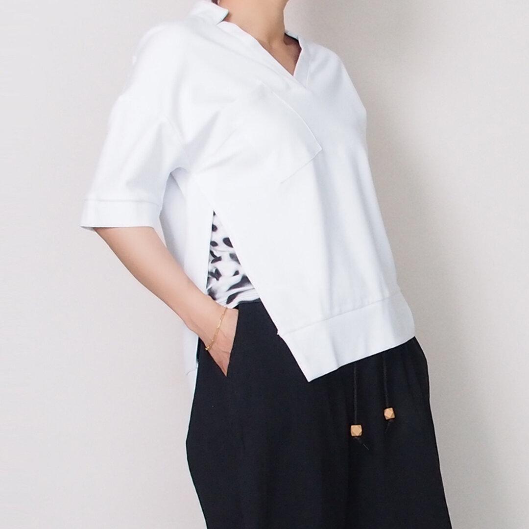 【新作】スタンドカラーの半袖カットソー(ホワイト)