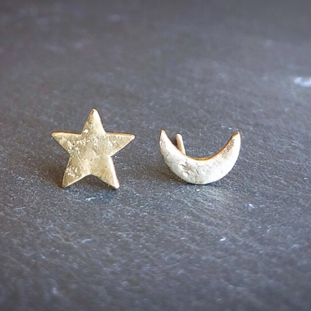 再販 星と月(真鍮ピアス)