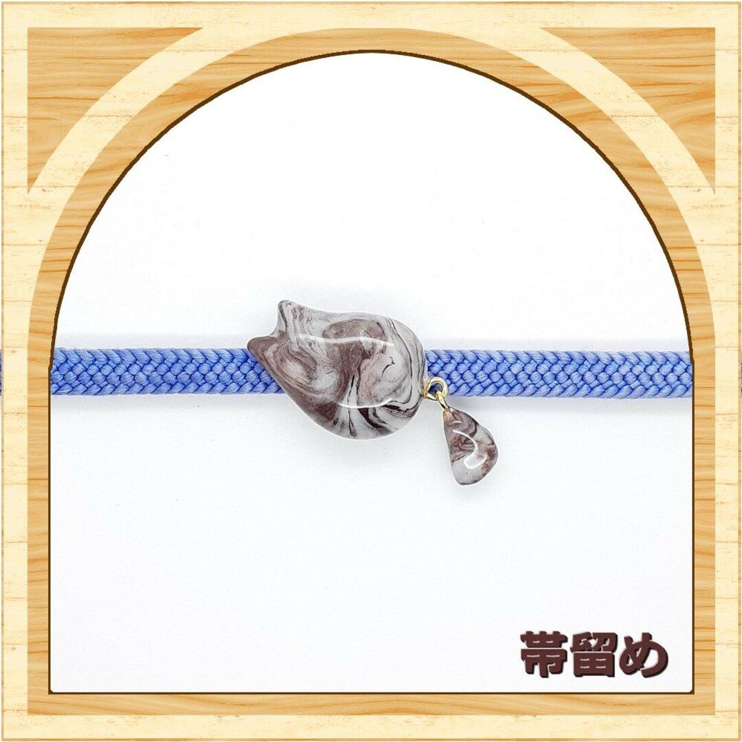 にゃんと太しっぽ【帯留め】白茶マーブル猫 トラ猫