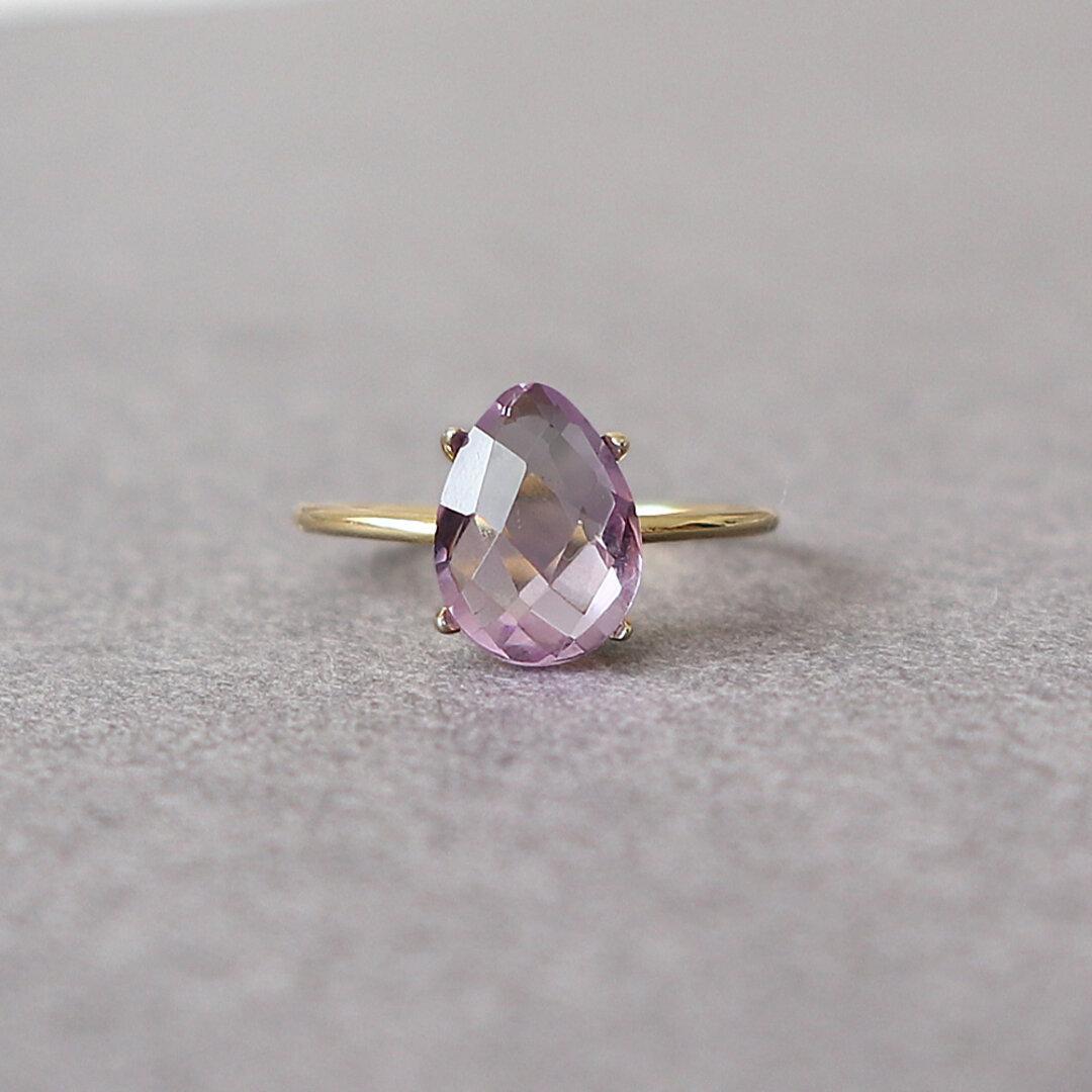 宝石質 ピンクアメジスト AAA ペアシェイプクッションカット 10x7mm / Silver925 指輪