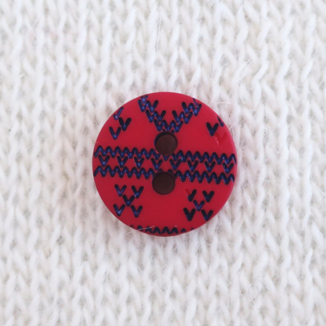 編み目のボタン 赤 フランス製