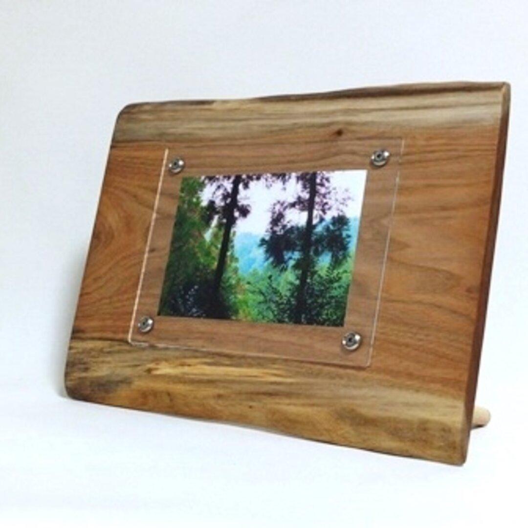 壁掛け出来る木製フォトフレーム 胡桃の天然木 No.4 KG-22