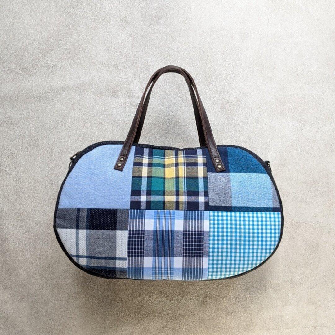 そらまめバッグ(various patch - blue check  -)