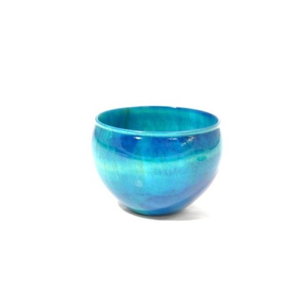 木製栃材を使用したカラフルなぐい呑みです Ochoko Colorful ブルー SX-0651